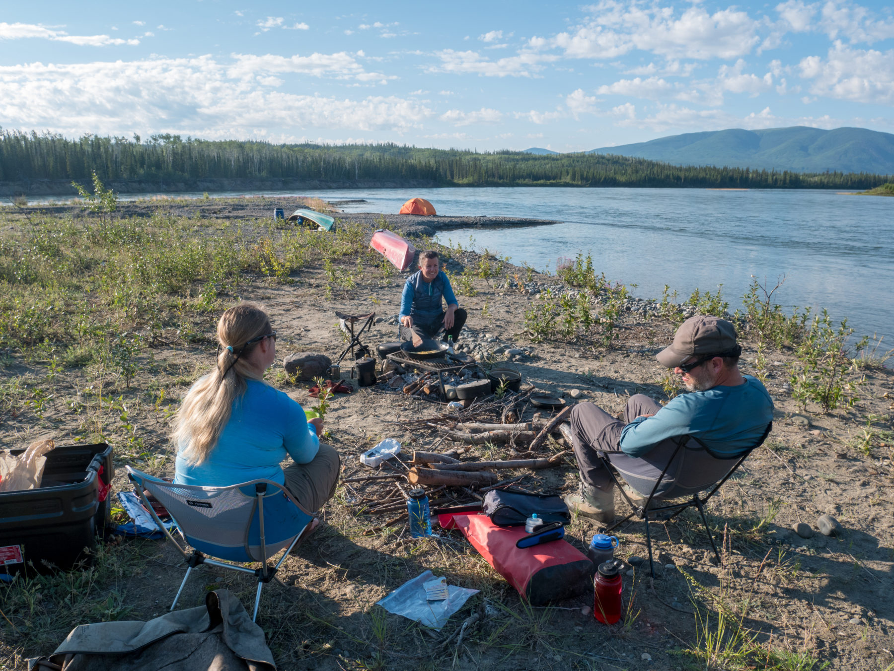 Camping during a canoeing trip