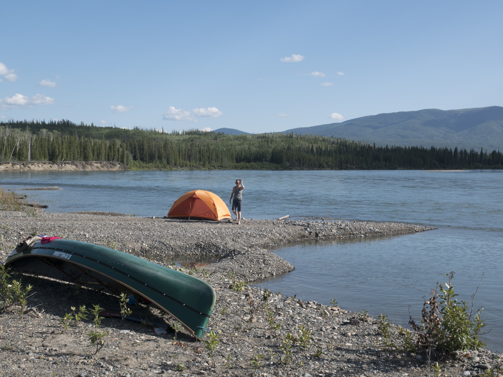 Camping on a gravel bar on the Yukon River